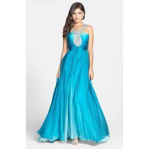 Sherri Hill Keyhole Halter Silk Chiffon Ombre Gown